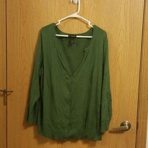 Lane Bryant Hunter Green Cardigan